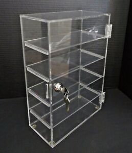 Rectangular Clear Acrylic Locking Jewelry Store Display Case Stand Countertop 1