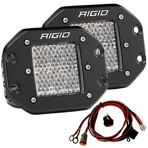 Rigid 512513 D2 Series Pro Led Lights Pair Of Flush Mount D2 Diffused Driving