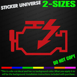 Check Engine Dash Light Funny Car Window Decal Bumper Sticker Diagnostic 0261