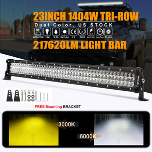 1404w 23 inch 22 Tri Row Cree Led Work Light Bar Combo Driving Dual Color Lamp