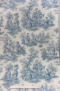 Antique French Blue White Cotton Country Scenic Toile Home Fabric C1920