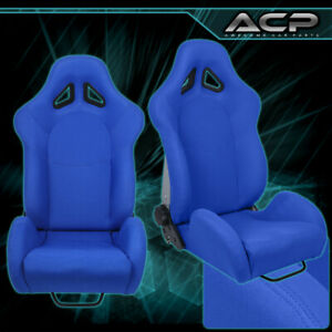 1x Blue Cloth Automotive Car Racing Vip Reclinable Bucket Seat Chair Slider