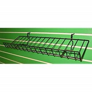 Pop Display Shelf W Lip Gridwall Slatwall Shelves 10 d X46 l Black Lot Of 5 New