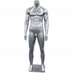 Male Headless Mannequins Retail Store Display Fixture Glossy Silver New