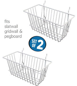 White Wire Baskets For Slatwall Gridwall And Pegboard 12 X 6 X 6 set Of 2