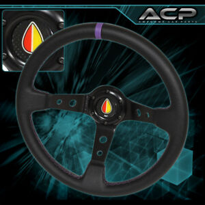 For Chevy Chevrolet Purple Black Stitches Steering Wheel 6 Bolt Holes Old Leaf