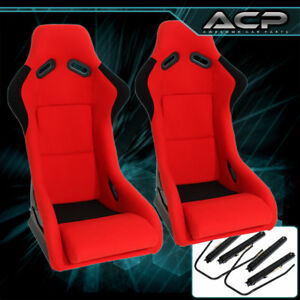 Universal Jdm Red Black Cloth Non reclinable Racing Bucket Seat Pair Sliders