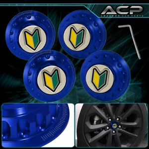 Racing Drag Vip Jdm Track Wheel Hub Center Cap New Wakaba Leaf Badge Blue