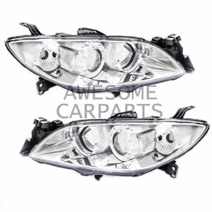 Projector Headlight Lamp Chrome Housing Clear Reflector Lens For 04 09 Mazda 3