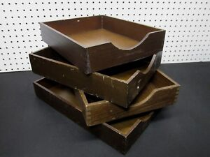 Lot Of 4 Vintage Wood Desk Organizer Tray Dovetail Wood Office In Out Box Letter