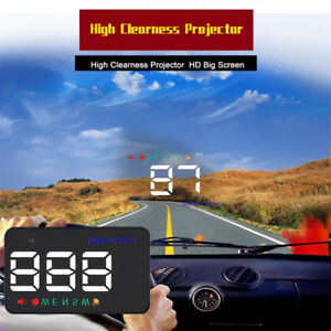 A5 Car Hud Over Speed Warning Gps Mph Kmh Head Up Display Hd Projector Us W4i9y