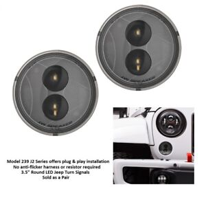 Jw Speaker 239 J2 Series 3 5 Round Led Front Turn Signals For Jeep Jk Smoke