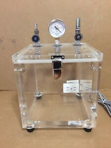 Fisher Science Acrylic Vacuum Vessel W Nks Gauge And Outlet