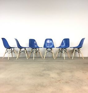 Herman Miller Set 6 Eames Royal Blue Shell Chairs Mid Century Dining