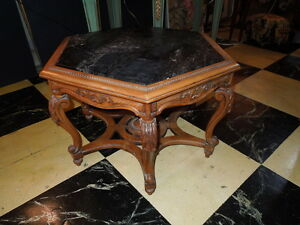 Antique Sextagonal Walnut Marble Top 24 H Occasional Table