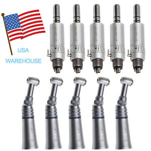 5set Dental Slow Low Speed Handpiece E type Air Motor 4 Hole Contra Angle Plnd