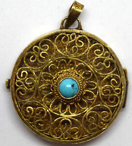 Vintage Chinese Silver And Natural Turquoise Filigree Box Pendant