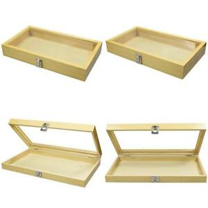 Large Natural Wood Jewelry Display Case Tempered Glass Top Lid Security Lock New