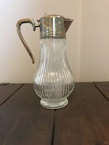 Antique 14in Glass Pitcher Silver Handle And Spout