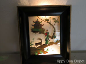 Mid Century Modern Asian 3d Shadowbox Painting Light Wall Art