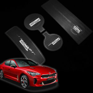 Aluminum Black Hairline Console Cup Holder Plate Set For Kia 2018 2019 Stinger