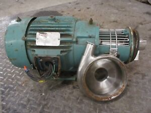 Tri clover 18131d 2 1 2x1 1 2x6 Stainless Pump W Motor 270 460v 60hz 3ph Used