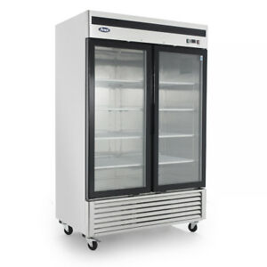 Mcf8707 Bottom Mount 2 Two Glass Door Refrigerator Commercial New