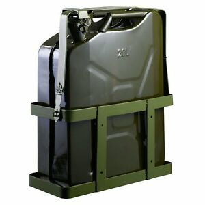 5 Gallon Gas Tank Jerry Can Fuel Steel Tank Military Green W Holder Brand New