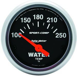 Auto Meter Sport comp Electric Water Temperature 100 250 F Gauge 2 1 16 52mm