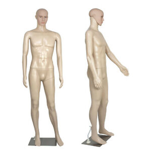 Male Full Body Realistic Mannequin Display Head Turns Dress Form W base K3