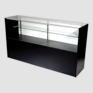 Retail Glass Display Case Half Vision Black 6 Showcase W led Light