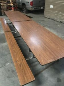 Mobile Folding Cafeteria Table 12 Ft Long