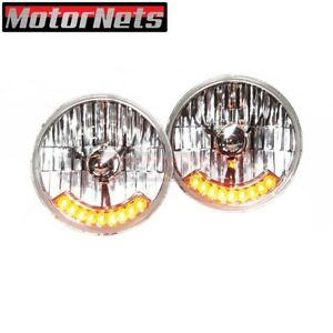 Pair 7 Headlight Headlamp W Integrated Amber Led Turn Signal Clear Round Hotrod