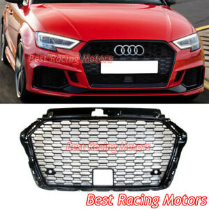 Rs3 Style Front Grille gloss Black Frame Mesh Acc Fits 17 20 Audi A3 S3 8v