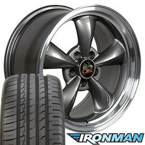 18x9 Anthracite Wheels And Tires Fit Ford Mustang Bullitt Style Rims W Ironman