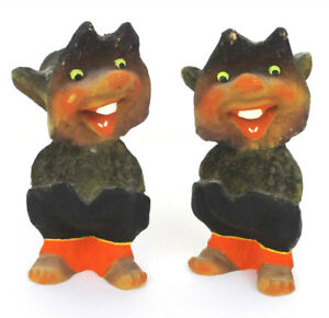 2 Vintage Henning Hand Carved Wood Made In Norway Troll Gnome Figures Big Tooth