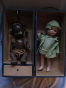 Early 1900s Babydolls With Travel Trunk Travel Stickers On Case