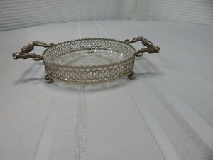 Vintage Silverplate Glass Candy Dish Made In England