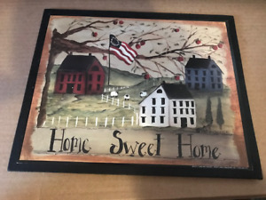 Home Sweet Home Flag Red Green White Saltbox House Sheep Primitive Vintage Sign