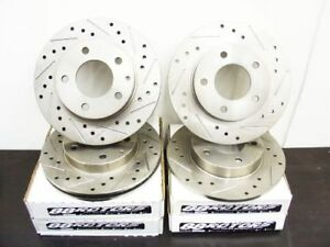 88rotors Centric Drilled Slotted Brake Rotors Discs Evo X Front Rear
