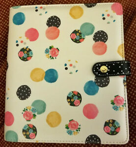 Carpe Diem A5 Planner Floral Polka Dot Black Pink White Yellow Green Blue Nwob