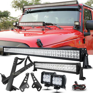 52 700w 22 Led Light Bar 18w Pods mount Bracket Fit Jeep Wrangler Jk Sahara 50