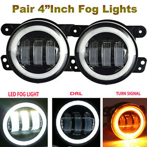 2x4 Led Fog Light Drl Kit For Dodge Charger Caravan Avenger Jeep Grand Cherokees