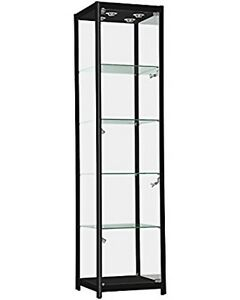 Only Hangers Black Aluminum Framed Tower Showcase Display Case Led Lights