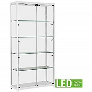 Only Hangers White Aluminum Framed Showcase Display Case Led Light