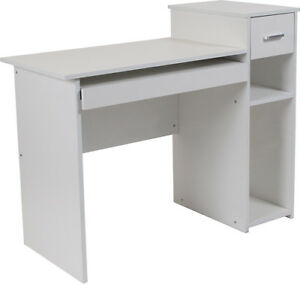 Contemporary White Laminate Finish Computer Desk With Shelves And Drawer