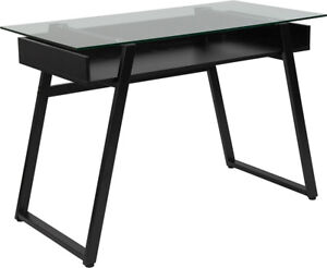 Contemporary Modern Glass Computer Desk With Shelf And Black Metal Legs