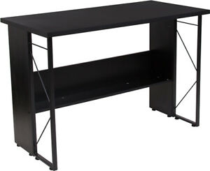 Contemporary Home Office Black Computer Desk With Shelf And Metal Frame