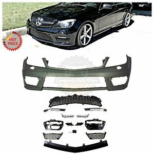 Mercedes Benz C63 Style Front Bumper W Led Drl For 08 14 W204 C Class W o Pdc