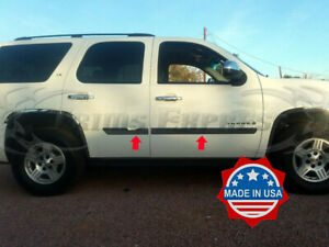2007 2014 Chevy Tahoe Body Side Molding Trim Flat Stainless Steel 3 4pc Rocker